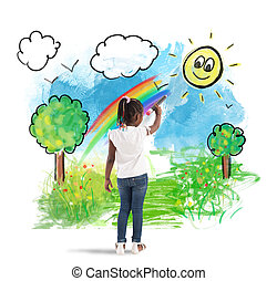 Paint a green panorama - Creative little girl colors with a...