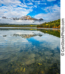 Pyramid Lake in the Canadian Rockies