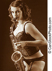 Retro female saxophonist (retro sepia style) - Woman with...