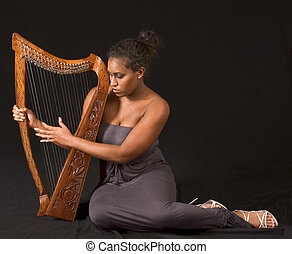 African - american, mujer, arpa