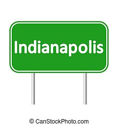 Indianapolis green road sign isolated on white background
