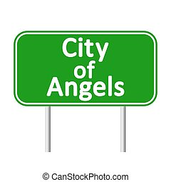 Los Angeles green road sign isolated on white background