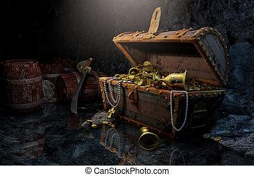 Pirate's chest in a dark cave