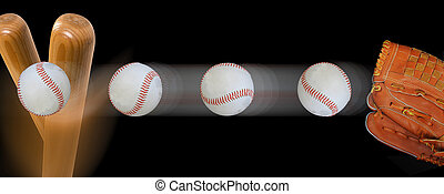 Baseball and Bat. - Fast baseball flying in with speed to...