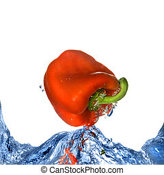 Red pepper with splash of blue water isolated on white