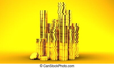 Gold Coins On Yellow Background - 3DCG render Animation.