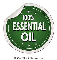 100% Essential sticker - 100% Essential oil green sticker on...