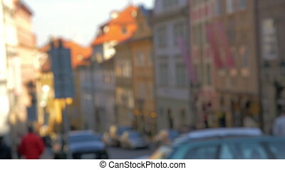 Defocus of street in Prague - Defocused shot of Prague...