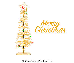 Gold Wire Christmas Tree - Stylized Christmas tree made with...