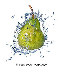 green pear with water splash isolated on white