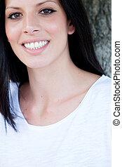完美, 黑發淺黑膚色女子, 顯示, 牙齒, 肖像, 微笑, 婦女
