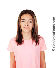 Pretty preteenager girl with pink t-shirt - Pretty...
