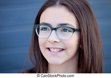 Pretty preteenager girl with glasses outside - Pretty...