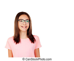 Pretty preteenager girl with glasses isolated on a white...