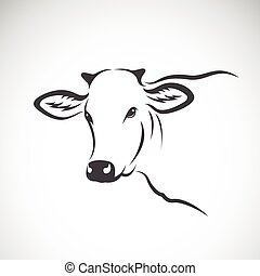 Vector image of a cow head design on white background,...