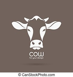 Vector image of a cow head design on brown background,...