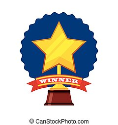trophy winner star isolated icon