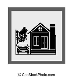 Housing Icon Vector - Beauty Home With Car Icon,illustration...