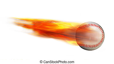 Baseball on Fire. - Homerun baseball on fire flying fast.
