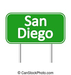 San Diego green road sign isolated on white background