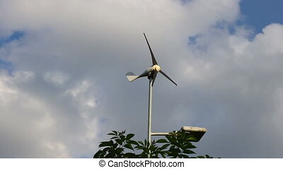 Wind turbine timelapse - A timelapse shot of a small wind...