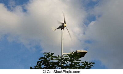 Working wind turbine - A working small wind turbine in a...