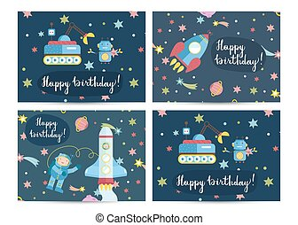 Happy Birthday Vector Cartoon Greeting Card