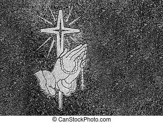 orando, mãos, rosário, crucifixos