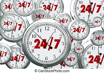 24 7 Hours Day Service Always Open Clocks Time 3d...