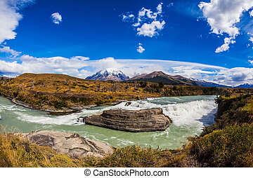 Cold water is emerald Paine river - Chile, Patagonia, Torres...