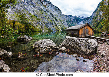 The concept of active tourism - Boat garage in middle of the...