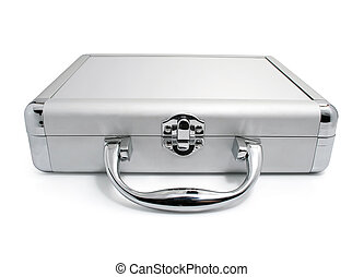 modern business silver suitcase isolated on white background...