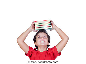 Happy student child with books on the head