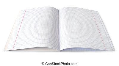 tiszta, fehér, jegyzetfüzet, kinyitott, elszigetelt