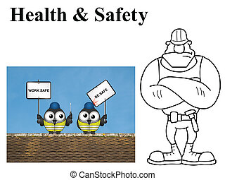 Work safe be safe - Comical construction workers with work...