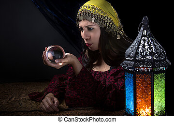 Psychic looking into crystall ball - Psychic or diviner...
