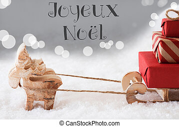 Reindeer With Sled, Silver Background, Joyeux Noel Means...