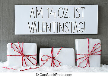 White Gift On Snow, Valentinstag Means Valentines Day -...