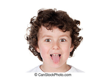 Kid sticking out tongue isolated on a white background