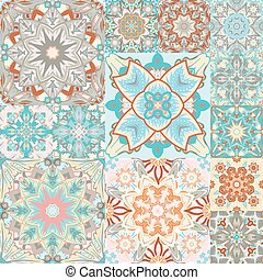Seamless vector pattern. Patchwork. in arabic style. Abstract illustration.