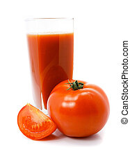 fresh tomato fruits with juice in glass