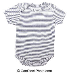 Striped baby clothes bodysuit isolated on white background