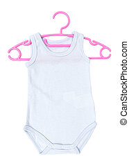 Striped baby clothes with baby hanger, sleeper isolated on...
