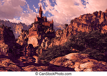 Castle in the Mountains - Castle fortification in the...