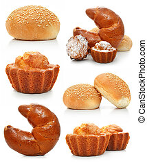 collection of sweet fancy cakes and croissant isolated on...