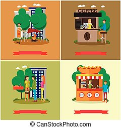 Street food concept vector posters. People sell products from stalls in park.