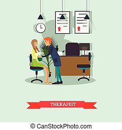 Therapist doctor conduct patient medical check up. Vector illustration in flat style
