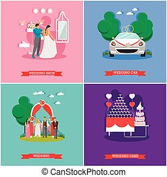 Wedding ceremony design vector banners. Bride and groom celebrate their marriage