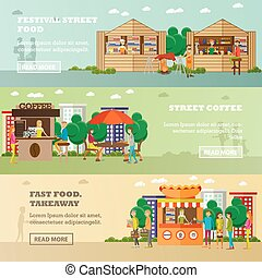 Street food festival concept vector banners. People sell products from stalls