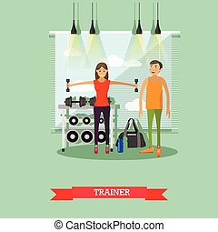 Girl working out with personal trainer in a gym. Fitness center banner. Sport equipment and accessories